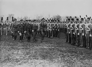 Army officials of the German Reichswehr visiting West Point military academy: on the right General Werner von Blomberg, on the left Colonel Erich Kuehlenthal inspecting the lined up cadets.