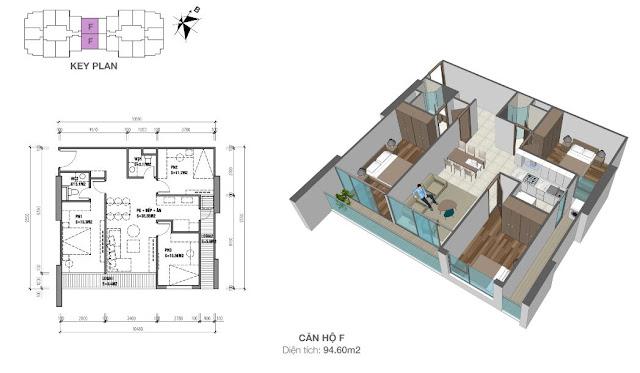 Thiết kế căn hộ loại F - 94,6m2 - 3PN, 2VS chung cư Eco dream city