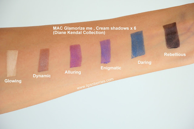 MAC Glamourize me eyeshadow palette swatches