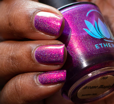 violet polish on dark skin