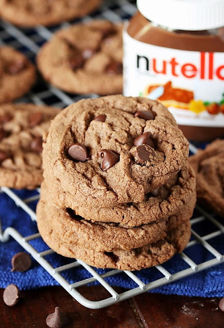 Stack of Nutella Chocolate Chip Cookies Image