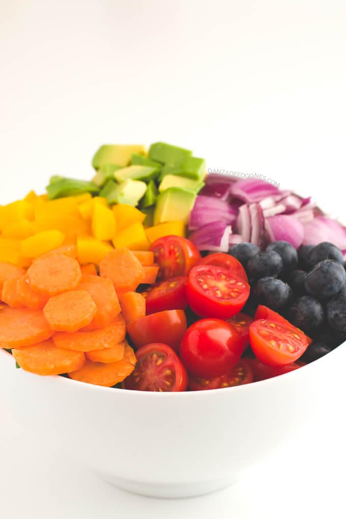 Rainbow Salad Recipe | Dance of Stoves