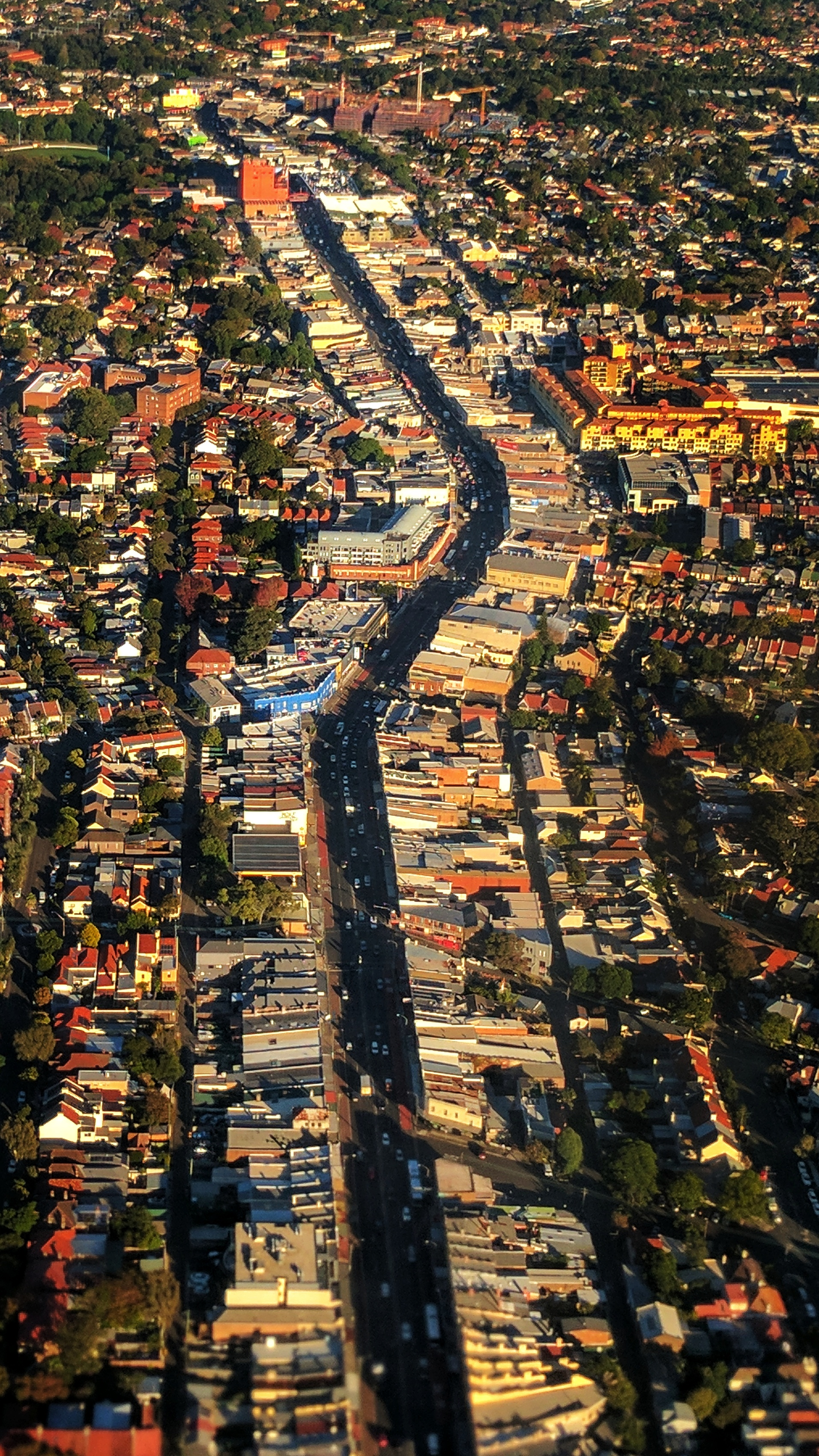 A Sydney highstreet as seen from above