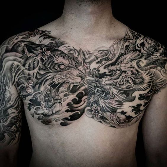 chest tiger tattoo