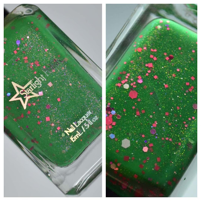 green nail polish with glitter in a bottle