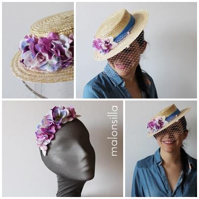 Sombrero de paja que se convierte en diadema de flores en azul klein y malva