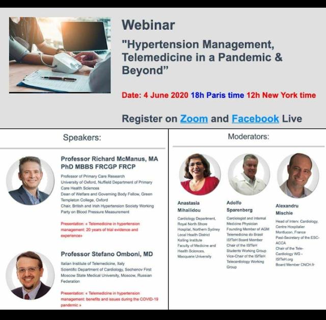 "Webinar ""Hypertension Management, Telemedicine in a Pandemic & Beyond""    Date: 4 June 2020, 18h CET"