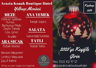 Arasta Konak Boutique Hotel Eskişehir Yılbaşı Programı 2020 Menüsü
