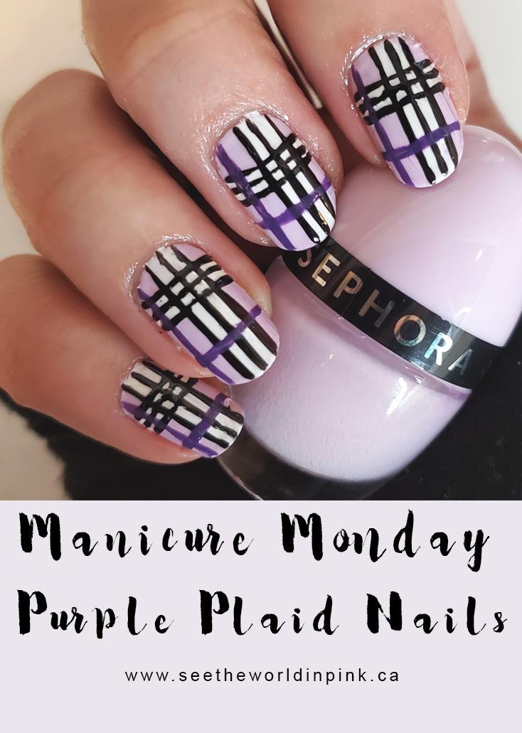 Manicure Monday - Purple Plaid Nails