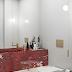 3 Lavabos com bancadas vermelhas de mármore napoleon bordeaux!