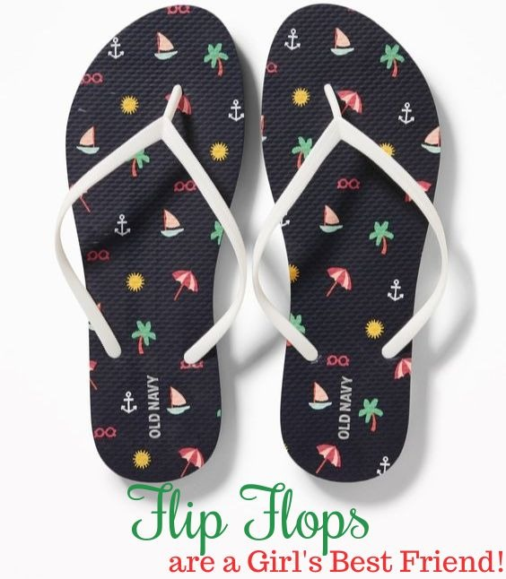 Stylish Black Beach Theme Flip Flops from Old Navy