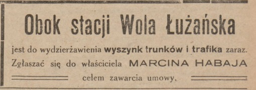 Wola Łużańska ogłoszenie wyszynk 1927
