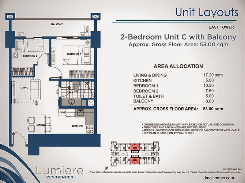 Lumiere Residences 2 Bedroom C 53.00 sqm