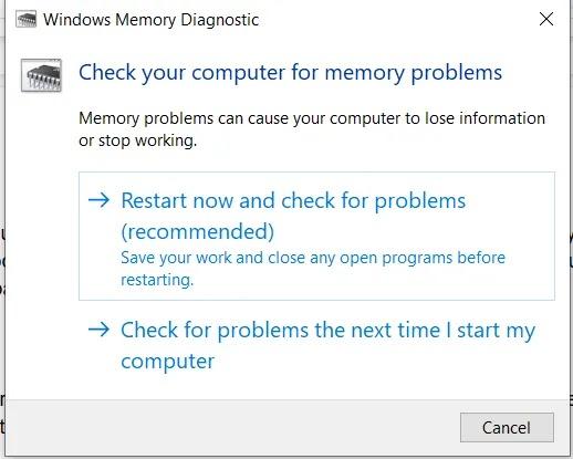 Windows تشخيص الذاكرة لا يستجيب