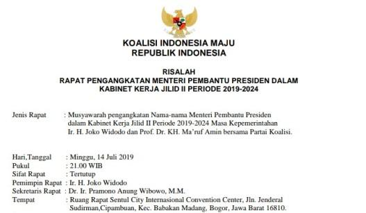 Hoaks !! Beredar Risalah Rapat, Pengangkatan Menteri Kabinet Jokowi Jilid II