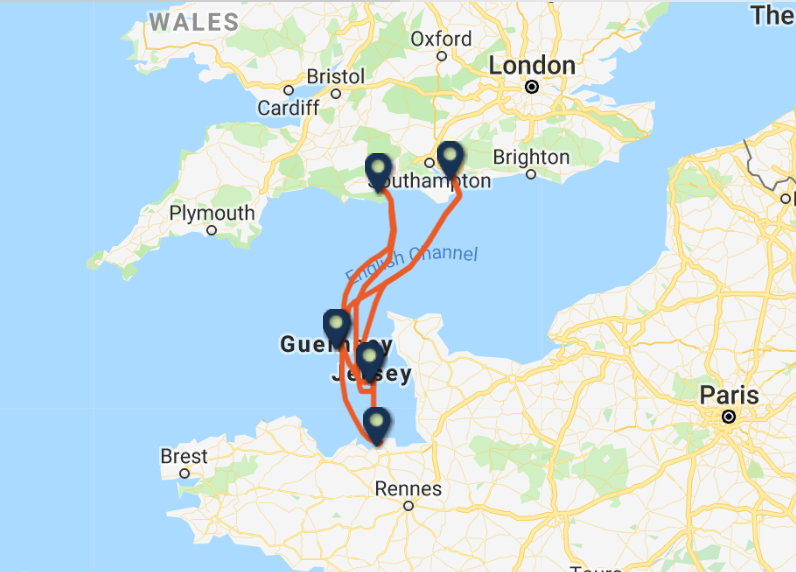 Condor Ferries routes and ports