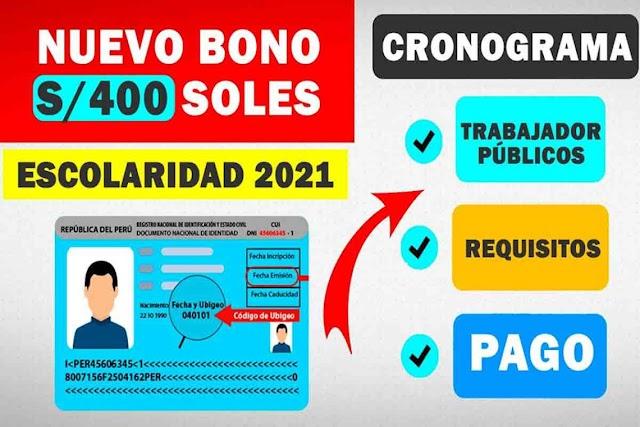 Bono Escolarida 2021: Consulta el bono de 400 soles y en que consiste