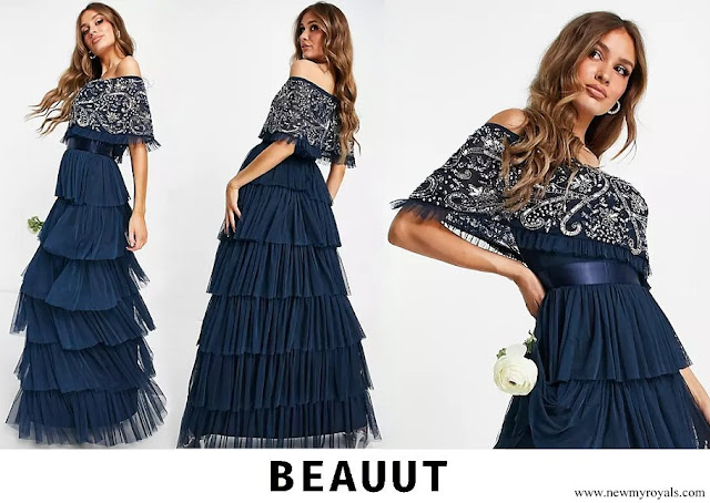 Marie Ducruet wore Beauut Bridesmaid embellished bardot maxi dress