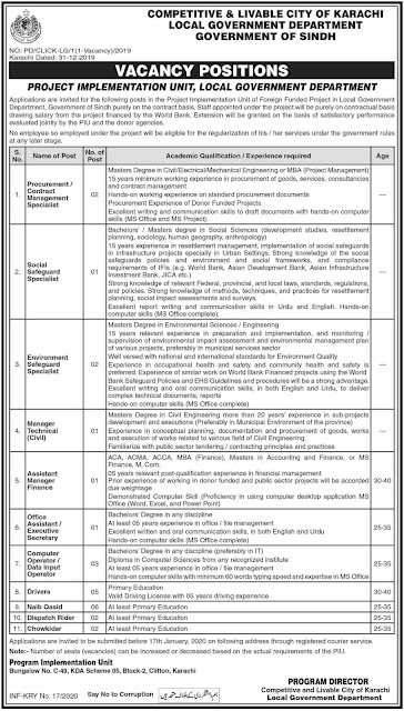Local Government Department Jobs 2020