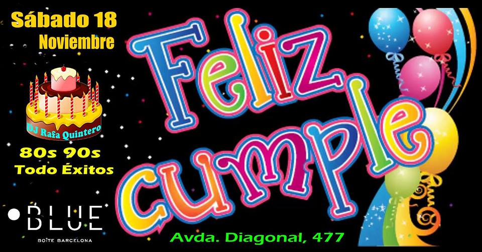 Flyer Fiesta 80s/90s (Cumple DJ Rafa Quintero)