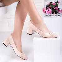 Pantofi dama cu toc mic bej Leonia
