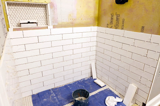 master bathroom shower renovation subway tile installation niche