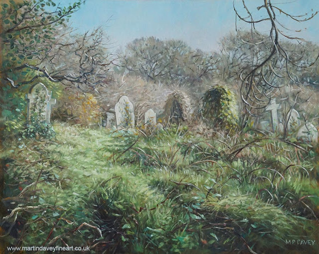 landscape cemetery in Hampshire art by Martin Davey