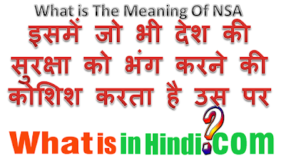 What is the meaning of NSA in Hindi