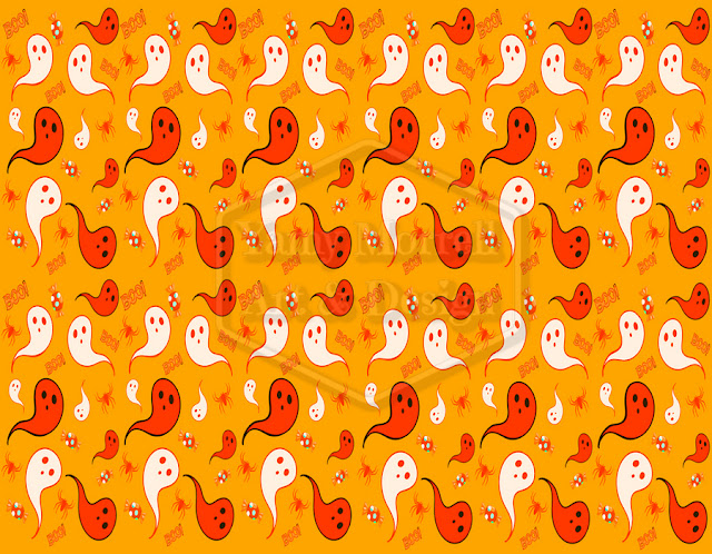 Halloween-orange-ghost-pattern-design-by-yamy-morrell