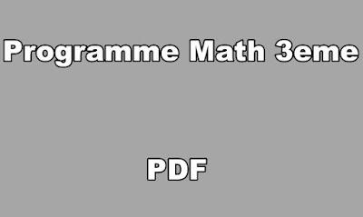 Programme Math 3eme PDF