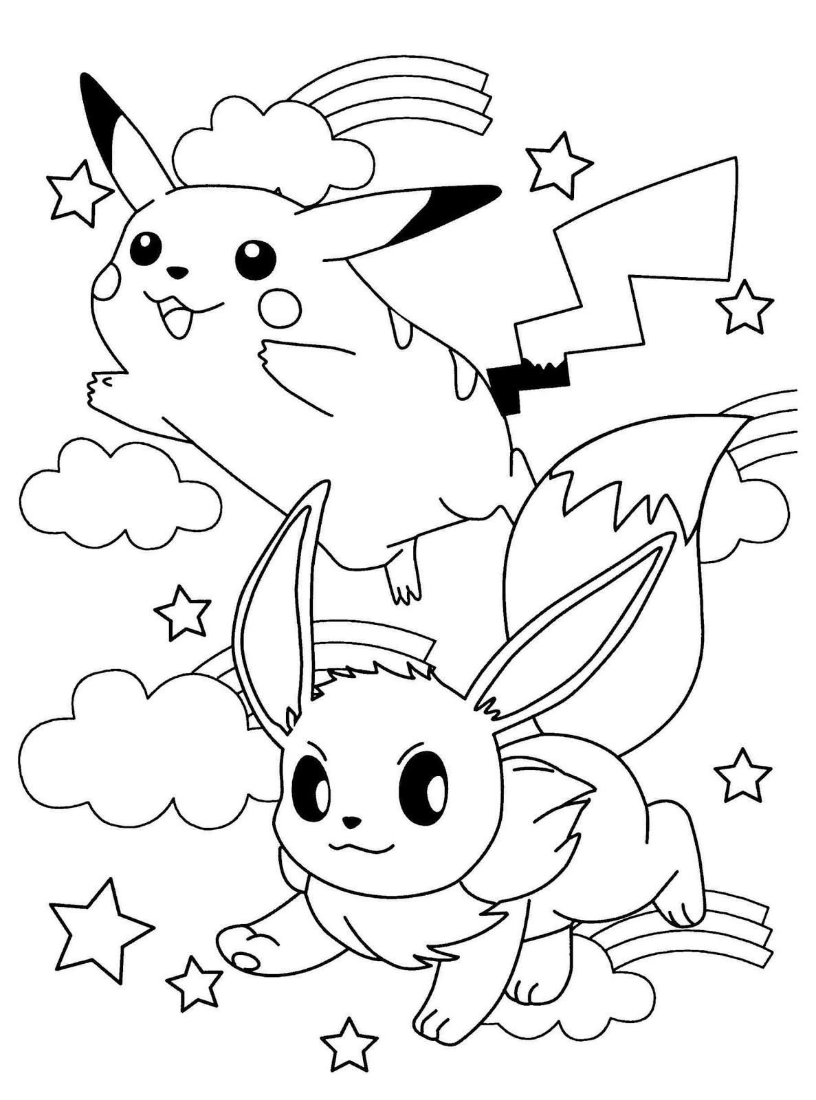 full size printable cute eevee and pikachu coloring pages pictures to print out - pokemon starters coloring pages