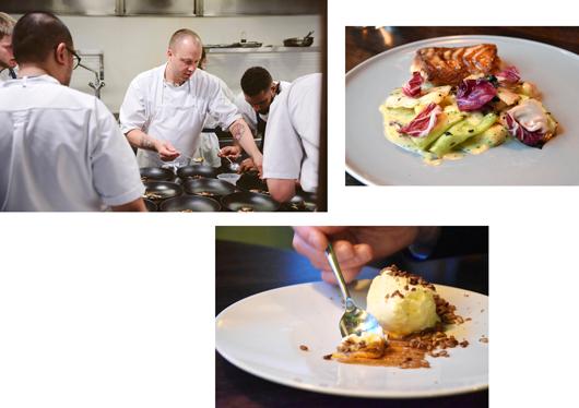 Chefkoch Christopher Haatuft und seine Crew in seinem Restaurant in Bergen