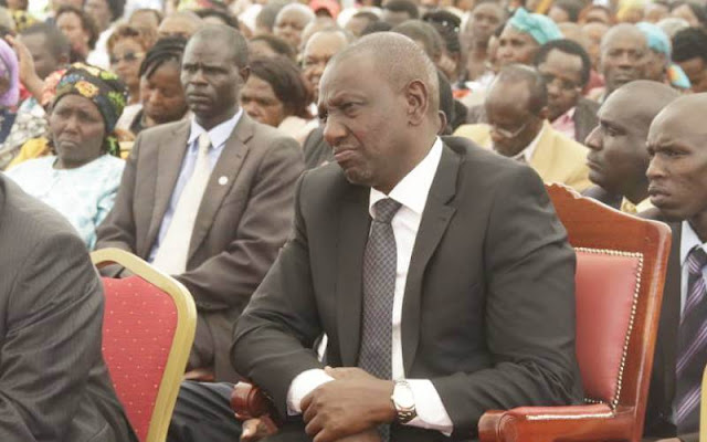 Deputy President William Ruto in Nakuru at the burial of Sergeant Kipyegon Kenei. PHOTO | FILE