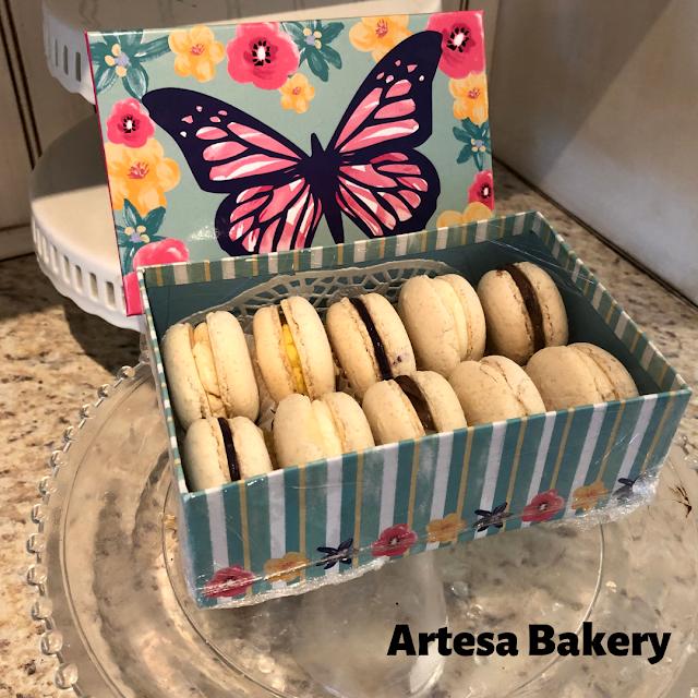 Boxed up yummy macaroons at Artesa Bakery