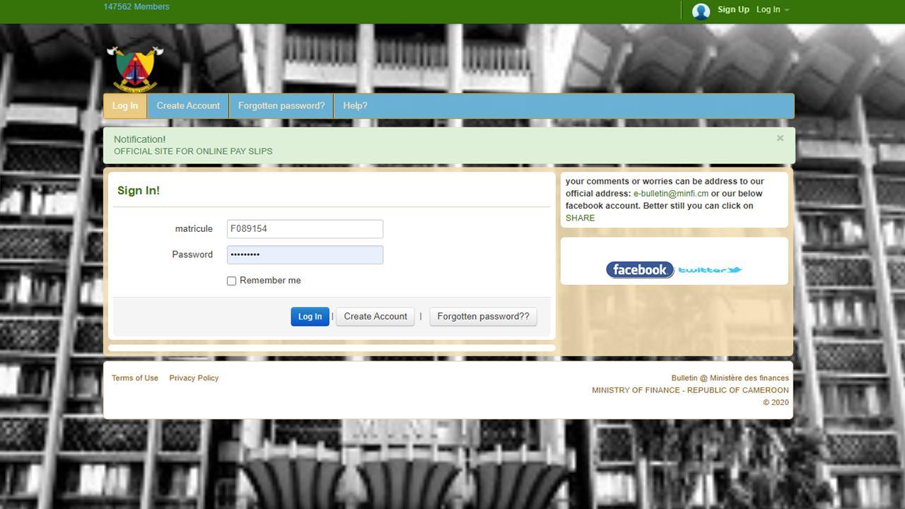 Consultation Bulletin de Solde eBulletin Minfi Cameroun