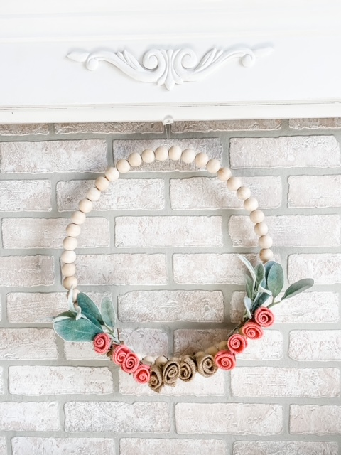 flowers beads leaves wreath