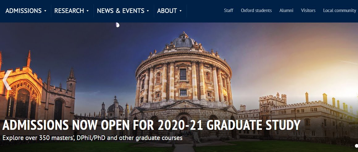 University of Oxford 2020-2021 Admissions Now Open for Graduate Study