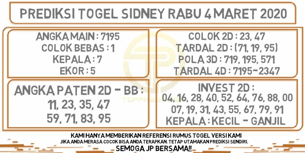 Prediksi Togel JP Sidney Rabu 04 Maret 2020 - Prediksi Togel JP