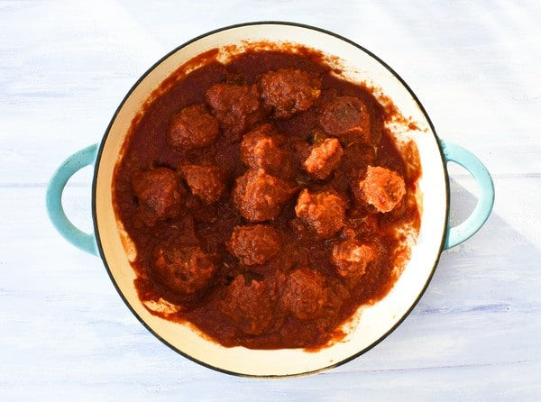 Step 12 - warmed meatballs in sauce