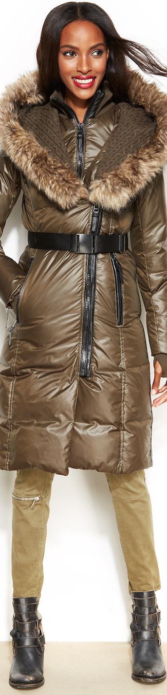 RUDSAK Faux-Fur-Trim Belted Puffer Down Coat