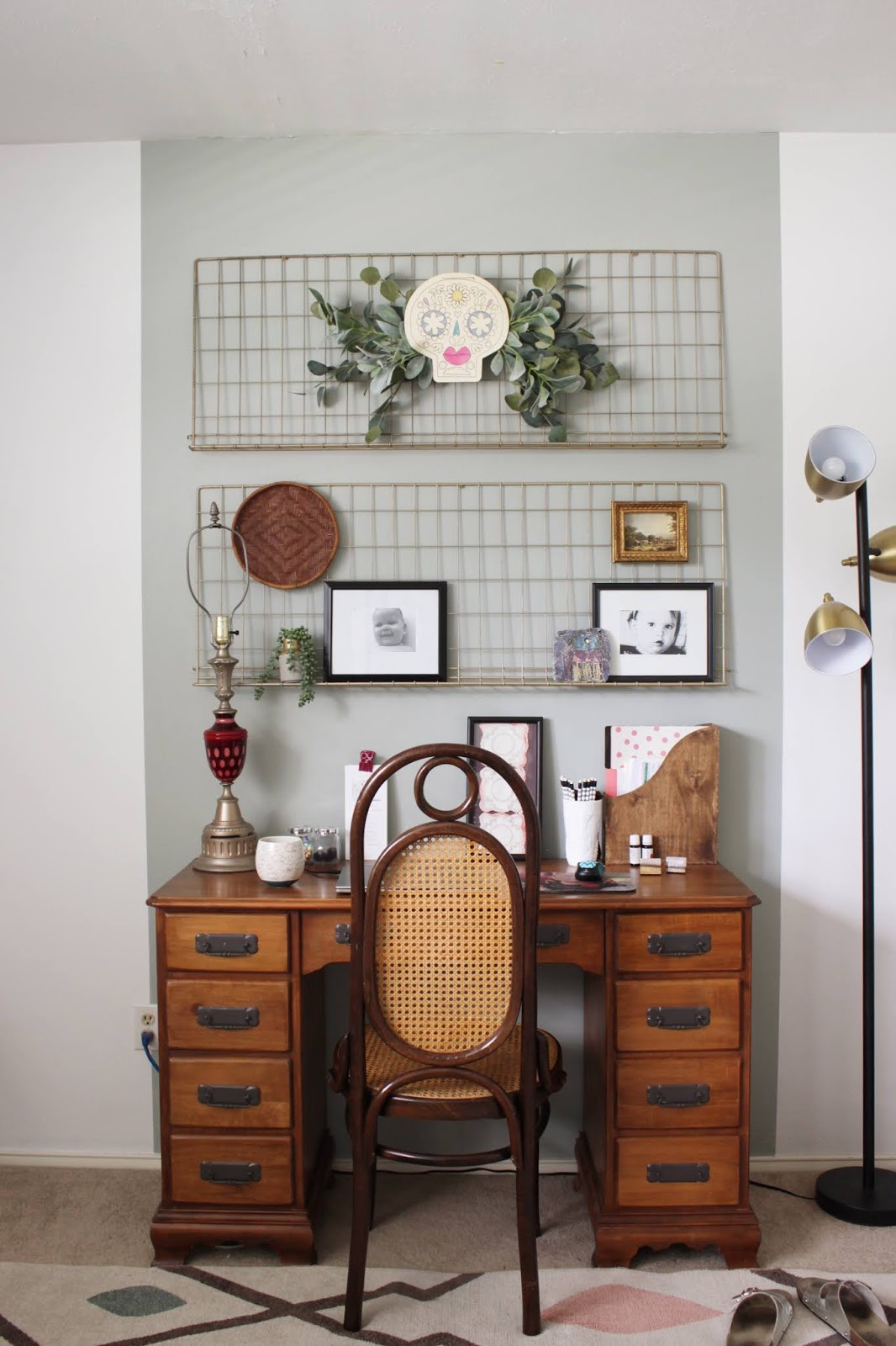 We've lived in our house a whole year!! Check out the tour and a round up of projects I've done. It's been great!   House Homemade Office hanging shelves