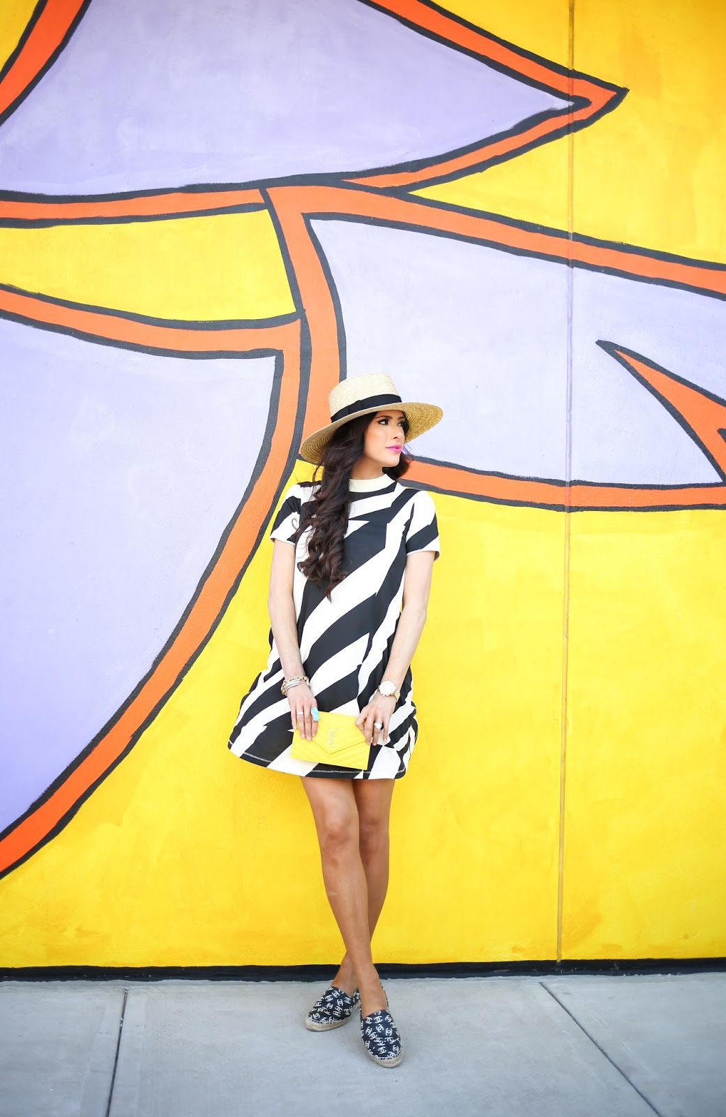cheap monday striped dress, yellow YSL wallet on a chain, striped swing dress, nordstrom striped wing dress, chanel espadrilles black and with with CCs, michele gold serein watch 18mm, brixton straw hat, emily gemma, the sweetest thing blog, spring fashion pinterest, summer fashion pinterest, summer outfit ideas pinterest, deepa gurnani earrings, chanel espadrilles, tulsa fashion blogger, happy go lucky lipstick