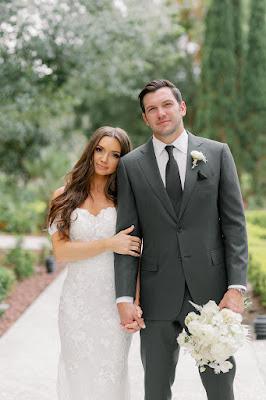 bride and grrom smiling