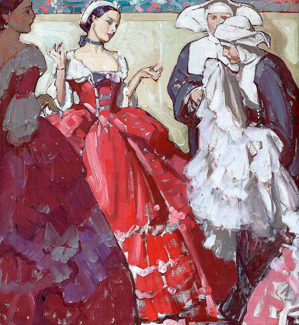 a Mead Schaeffer illustration of how red is judged by black and white