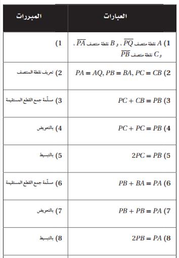 حل تمارين درس 7-1 إثبات علاقات بين القطع المستقيمة - التبرير والبرهان