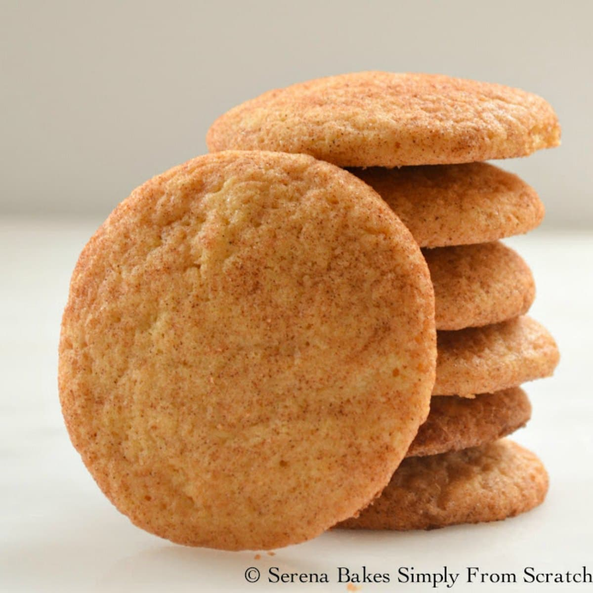 A stack of Snickerdoodle Cookies with 1 Snickerdoodle resting against the stack on it's edge.