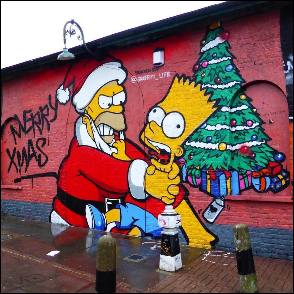 beste kreative graffiti weihnachtsbilder graffiti. Black Bedroom Furniture Sets. Home Design Ideas