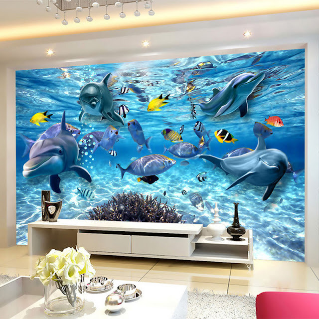 Picture Wallpaper for Walls Dolphins Sea Under Water Wall Mural