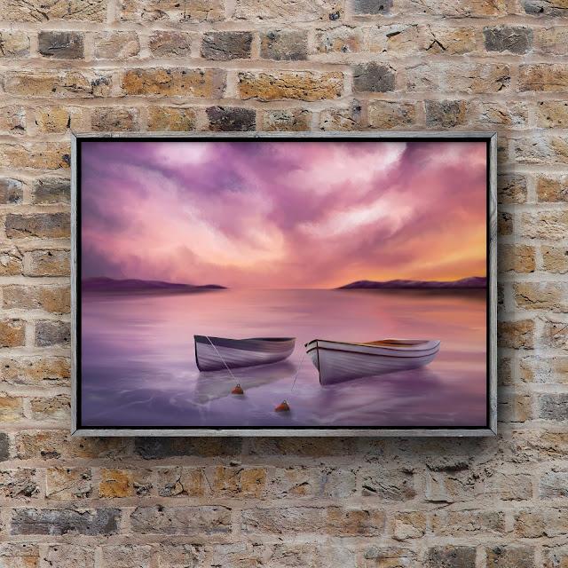 sunset over the ocean, boat, artwork, landscape,