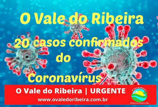 O Vale do Ribeira soma 20 casos confirmados do novo Coronavírus